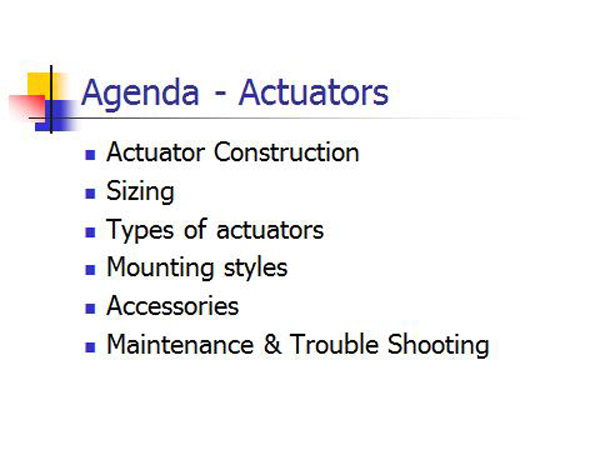 Actuator Training Agenda